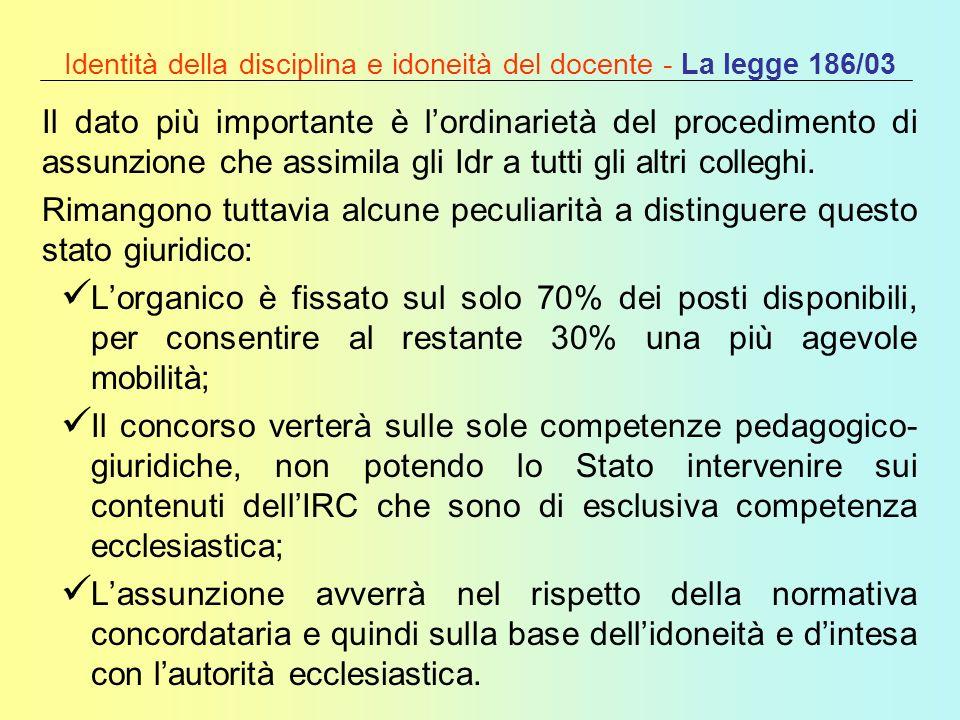 Identità della disciplina e idoneità del docente - La legge 186/03 Il dato più importante è lordinarietà del procedimento di assunzione che assimila g