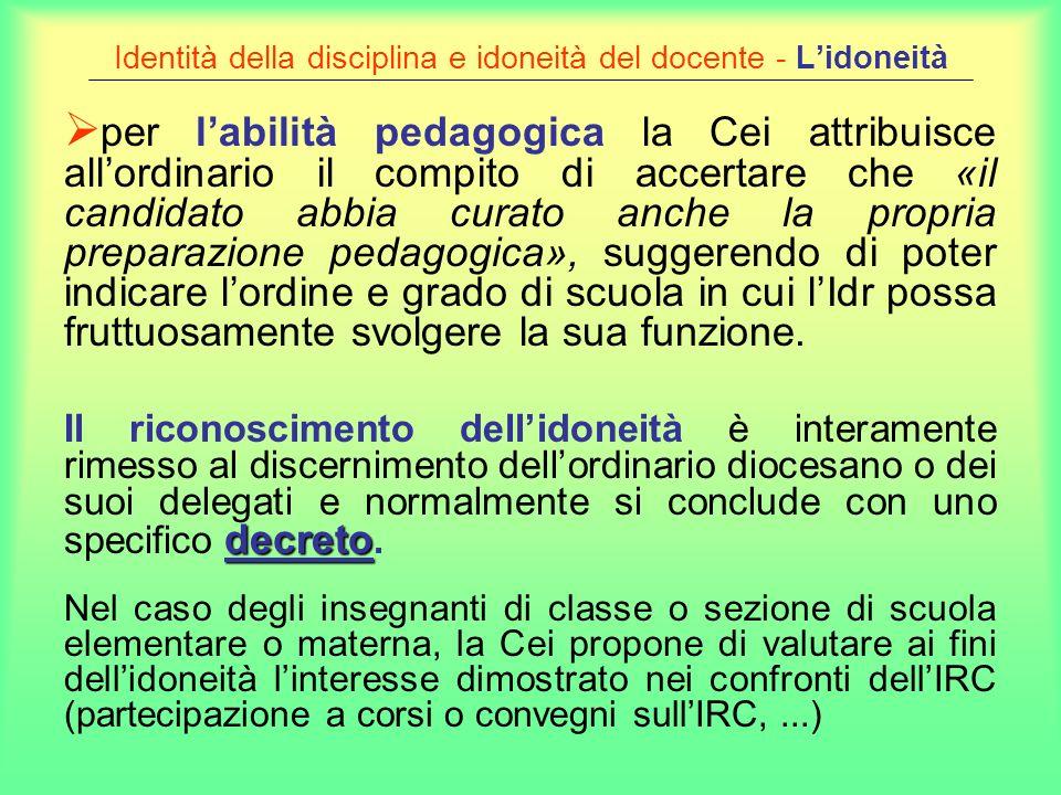 Identità della disciplina e idoneità del docente - Lidoneità per labilità pedagogica la Cei attribuisce allordinario il compito di accertare che «il c