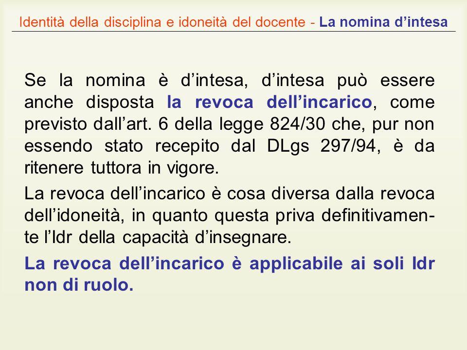 Identità della disciplina e idoneità del docente - La nomina dintesa Se la nomina è dintesa, dintesa può essere anche disposta la revoca dellincarico,