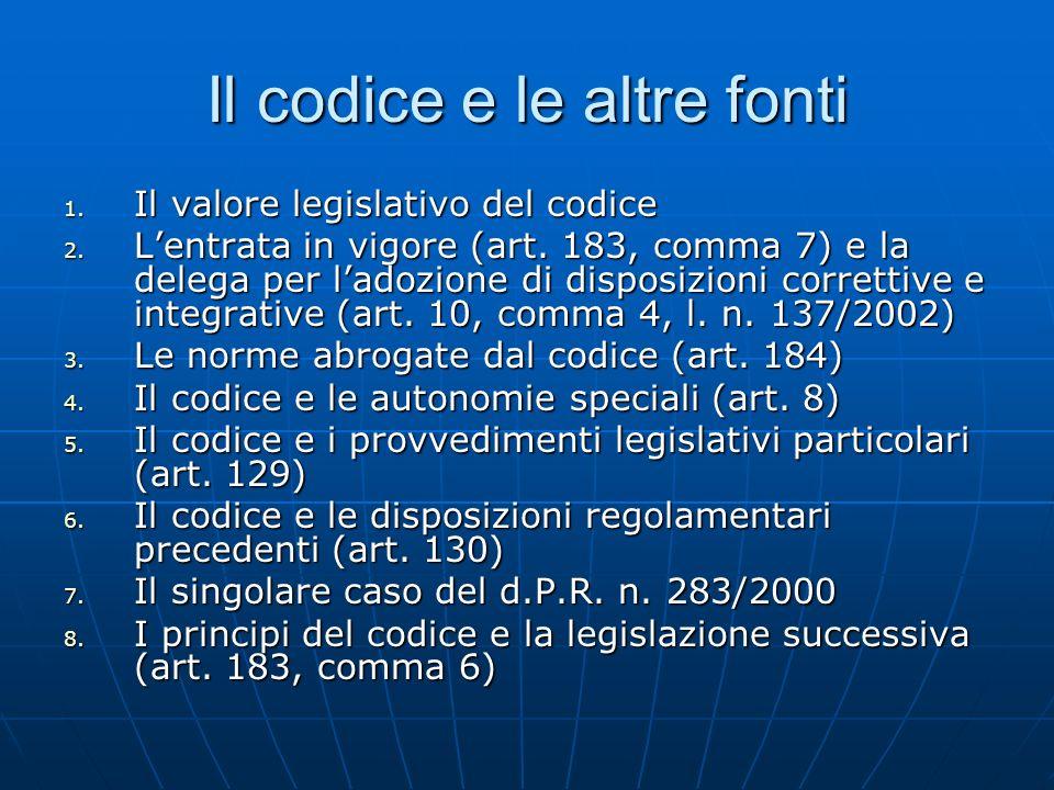 Il codice e le altre fonti 1. Il valore legislativo del codice 2. Lentrata in vigore (art. 183, comma 7) e la delega per ladozione di disposizioni cor
