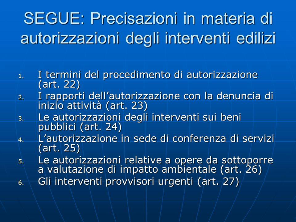 SEGUE: Precisazioni in materia di autorizzazioni degli interventi edilizi 1. I termini del procedimento di autorizzazione (art. 22) 2. I rapporti dell