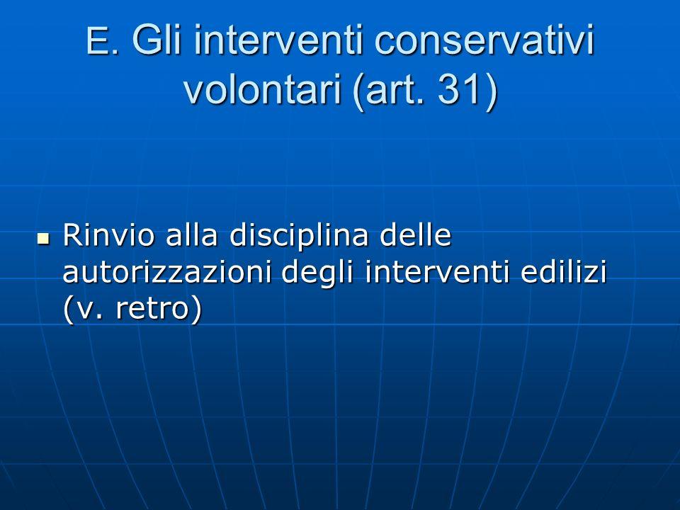 E. Gli interventi conservativi volontari (art. 31) Rinvio alla disciplina delle autorizzazioni degli interventi edilizi (v. retro) Rinvio alla discipl
