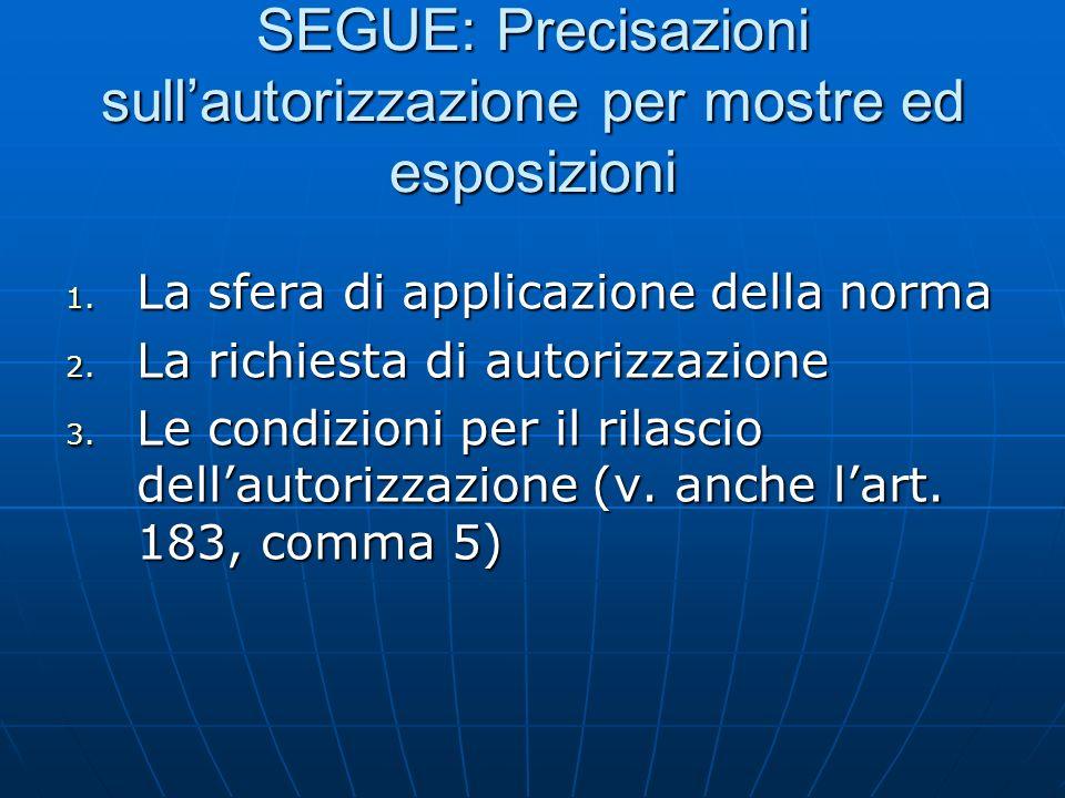 SEGUE: Precisazioni sullautorizzazione per mostre ed esposizioni 1. La sfera di applicazione della norma 2. La richiesta di autorizzazione 3. Le condi