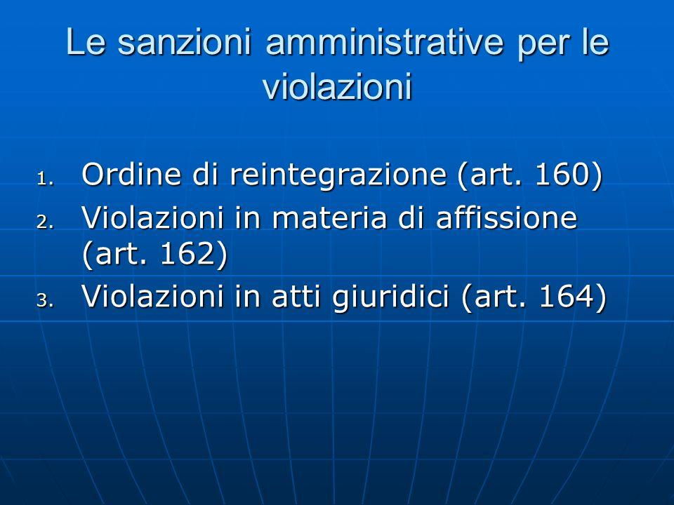 Le sanzioni amministrative per le violazioni 1. Ordine di reintegrazione (art. 160) 2. Violazioni in materia di affissione (art. 162) 3. Violazioni in