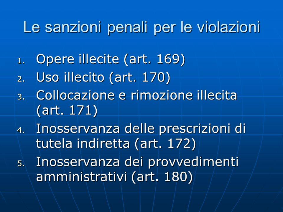 Le sanzioni penali per le violazioni 1. Opere illecite (art. 169) 2. Uso illecito (art. 170) 3. Collocazione e rimozione illecita (art. 171) 4. Inosse