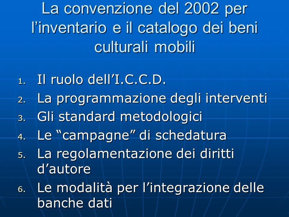 La convenzione del 2002 per linventario e il catalogo dei beni culturali mobili 1. Il ruolo dellI.C.C.D. 2. La programmazione degli interventi 3. Gli