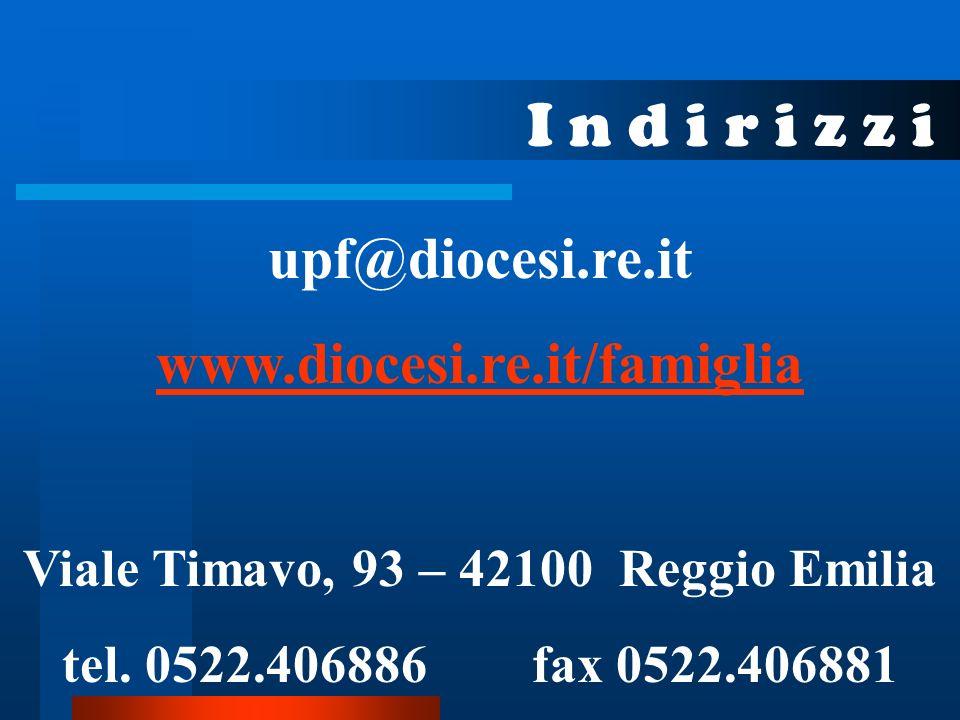I n d i r i z z i upf@diocesi.re.it www.diocesi.re.it/famiglia Viale Timavo, 93 – 42100 Reggio Emilia tel.