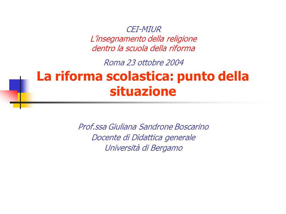 CEI-MIUR Linsegnamento della religione dentro la scuola della riforma Roma 23 ottobre 2004 La riforma scolastica: punto della situazione Prof.ssa Giul