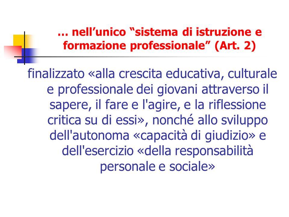 … nellunico sistema di istruzione e formazione professionale (Art. 2) finalizzato «alla crescita educativa, culturale e professionale dei giovani attr