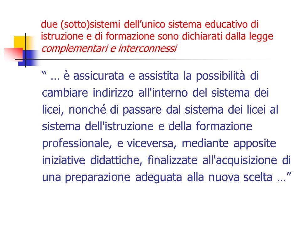 due (sotto)sistemi dellunico sistema educativo di istruzione e di formazione sono dichiarati dalla legge complementari e interconnessi … è assicurata
