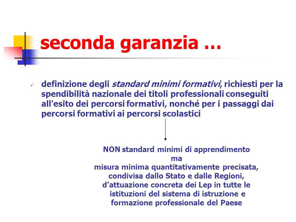 seconda garanzia … definizione degli standard minimi formativi, richiesti per la spendibilità nazionale dei titoli professionali conseguiti all'esito