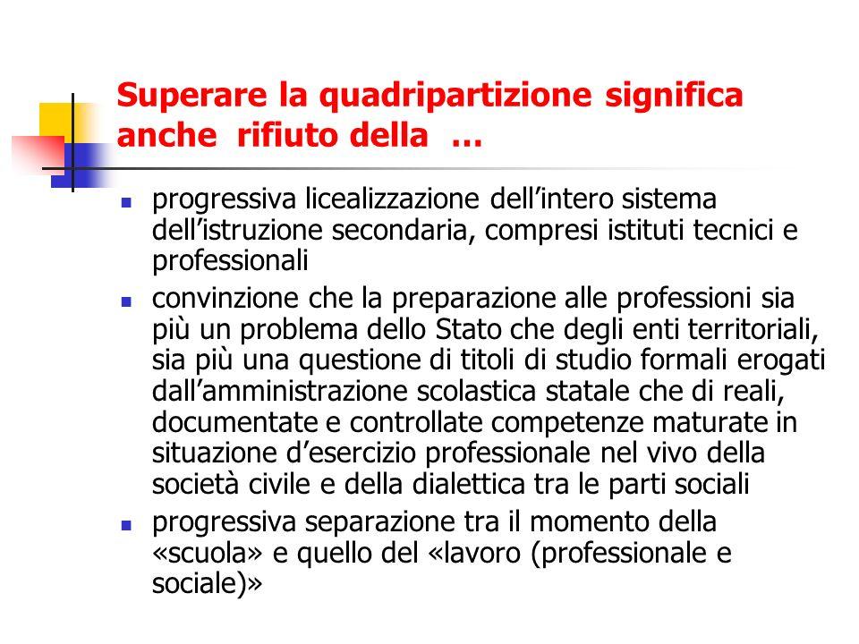 Superare la quadripartizione significa anche rifiuto della … progressiva licealizzazione dellintero sistema dellistruzione secondaria, compresi istitu