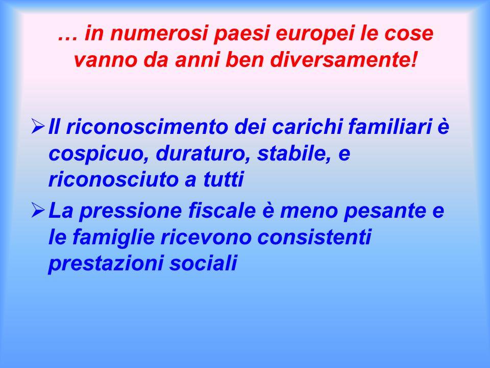 … in numerosi paesi europei le cose vanno da anni ben diversamente! Il riconoscimento dei carichi familiari è cospicuo, duraturo, stabile, e riconosci