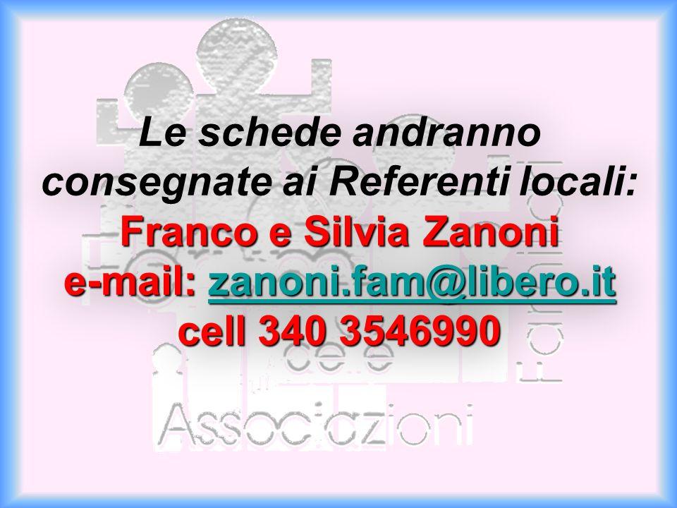 Franco e Silvia Zanoni e-mail: zanoni.fam@libero.it cell 340 3546990 Le schede andranno consegnate ai Referenti locali: Franco e Silvia Zanoni e-mail: zanoni.fam@libero.it cell 340 3546990zanoni.fam@libero.it Franco e Silvia Zanoni e-mail: zanoni.fam@libero.it cell 340 3546990 Le schede andranno consegnate ai Referenti locali: Franco e Silvia Zanoni e-mail: zanoni.fam@libero.it cell 340 3546990zanoni.fam@libero.it