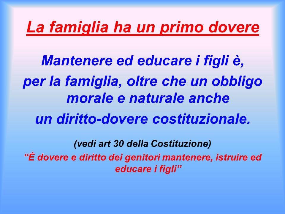 La famiglia ha un primo dovere Mantenere ed educare i figli è, per la famiglia, oltre che un obbligo morale e naturale anche un diritto-dovere costituzionale.