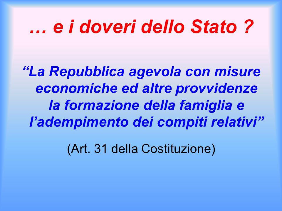 … e i doveri dello Stato ? La Repubblica agevola con misure economiche ed altre provvidenze la formazione della famiglia e ladempimento dei compiti re