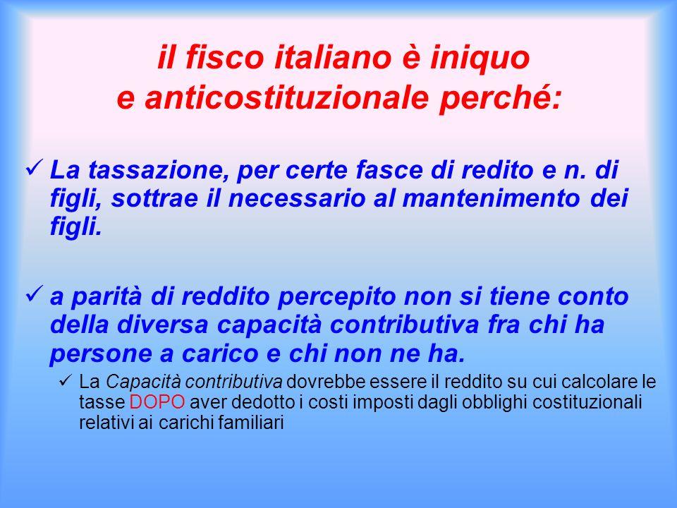 il fisco italiano è iniquo e anticostituzionale perché: La tassazione, per certe fasce di redito e n. di figli, sottrae il necessario al mantenimento