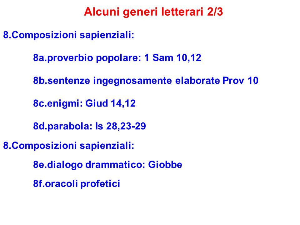 Alcuni generi letterari 2/3 8.Composizioni sapienziali: 8a.proverbio popolare: 1 Sam 10,12 8b.sentenze ingegnosamente elaborate Prov 10 8c.enigmi: Giu