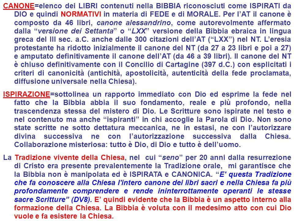 CANONE=elenco dei LIBRI contenuti nella BIBBIA riconosciuti come ISPIRATI da DIO e quindi NORMATIVI in materia di FEDE e di MORALE. Per lAT il canone