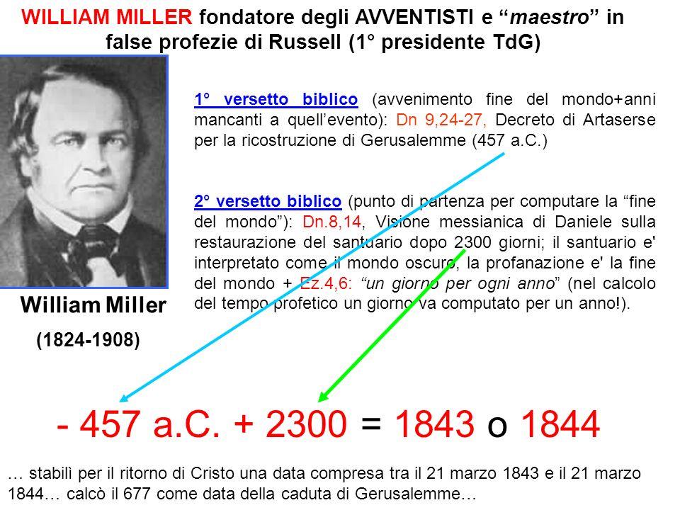 William Miller (1824-1908) WILLIAM MILLER fondatore degli AVVENTISTI e maestro in false profezie di Russell (1° presidente TdG) 1° versetto biblico (a