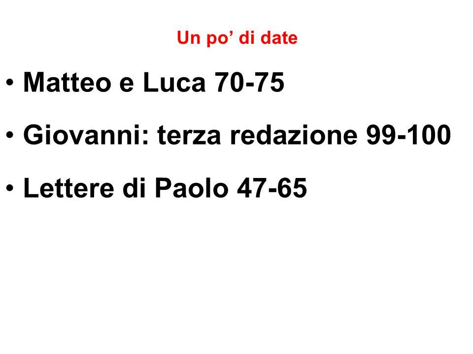Un po di date Matteo e Luca 70-75 Giovanni: terza redazione 99-100 Lettere di Paolo 47-65