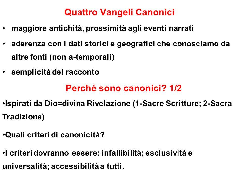 Quattro Vangeli Canonici maggiore antichità, prossimità agli eventi narrati aderenza con i dati storici e geografici che conosciamo da altre fonti (no