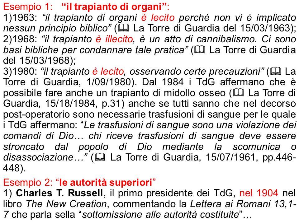 Esempio 1: il trapianto di organi: 1)1963: il trapianto di organi è lecito perché non vi è implicato nessun principio biblico ( La Torre di Guardia de