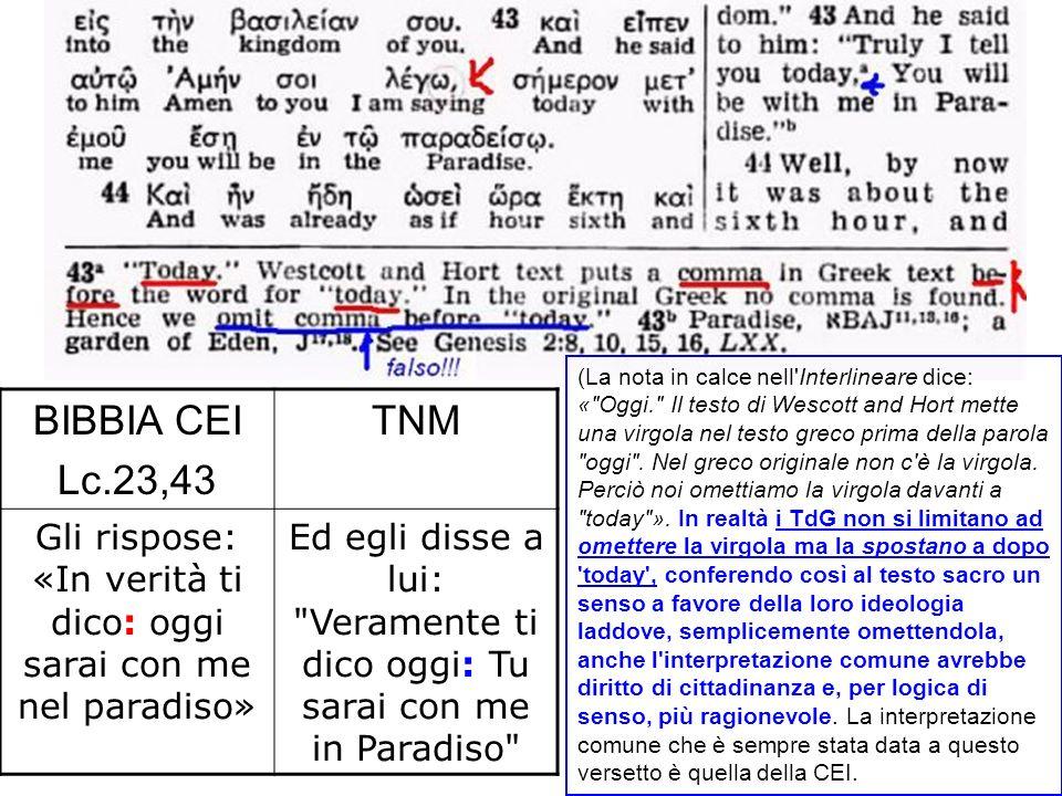 BIBBIA CEI Lc.23,43 TNM Gli rispose: «In verità ti dico: oggi sarai con me nel paradiso» Ed egli disse a lui: