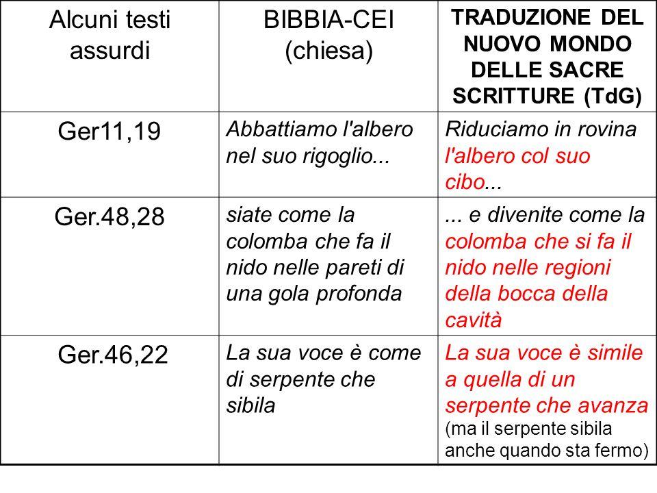 Alcuni testi assurdi BIBBIA-CEI (chiesa) TRADUZIONE DEL NUOVO MONDO DELLE SACRE SCRITTURE (TdG) Ger11,19 Abbattiamo l'albero nel suo rigoglio... Riduc