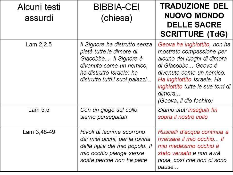 Alcuni testi assurdi BIBBIA-CEI (chiesa) TRADUZIONE DEL NUOVO MONDO DELLE SACRE SCRITTURE (TdG) Lam.2,2.5Il Signore ha distrutto senza pietà tutte le