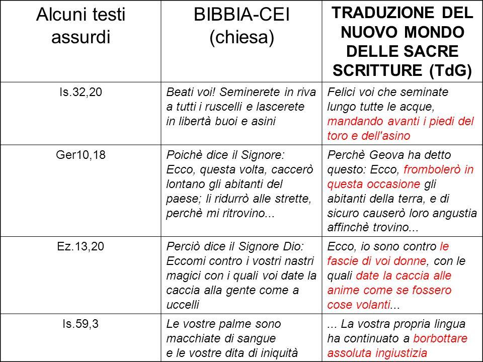 Alcuni testi assurdi BIBBIA-CEI (chiesa) TRADUZIONE DEL NUOVO MONDO DELLE SACRE SCRITTURE (TdG) Is.32,20Beati voi! Seminerete in riva a tutti i ruscel