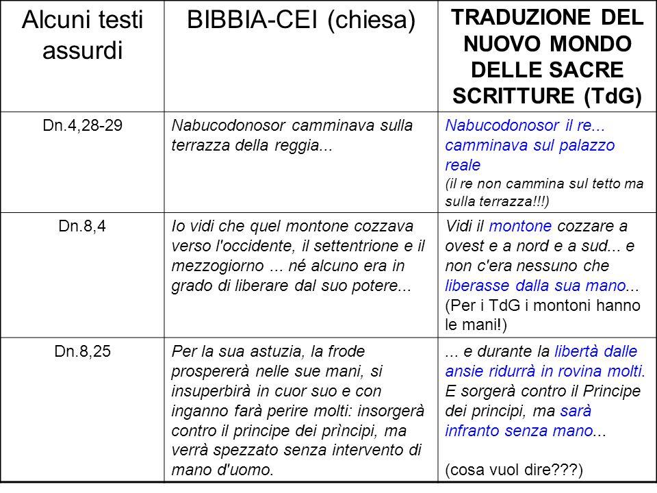 Alcuni testi assurdi BIBBIA-CEI (chiesa) TRADUZIONE DEL NUOVO MONDO DELLE SACRE SCRITTURE (TdG) Dn.4,28-29Nabucodonosor camminava sulla terrazza della