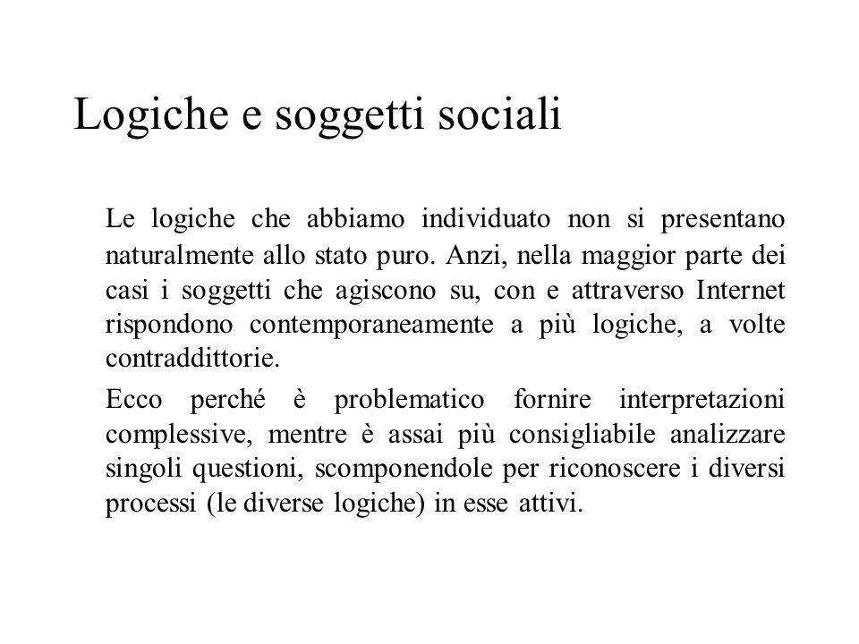 Logiche e soggetti sociali Le logiche che abbiamo individuato non si presentano naturalmente allo stato puro. Anzi, nella maggior parte dei casi i sog