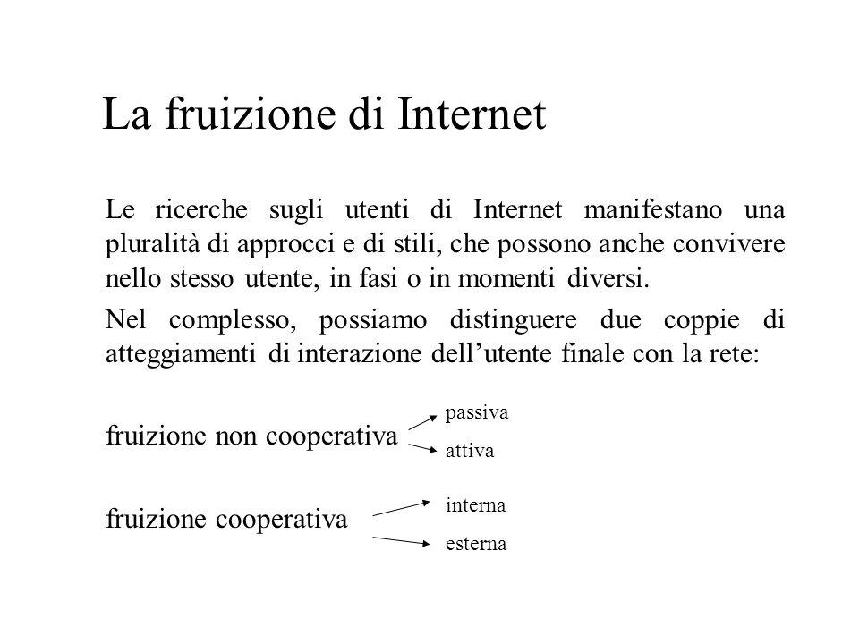 La fruizione di Internet Le ricerche sugli utenti di Internet manifestano una pluralità di approcci e di stili, che possono anche convivere nello stesso utente, in fasi o in momenti diversi.