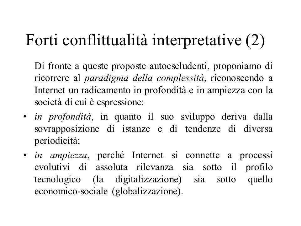 Forti conflittualità interpretative (2) Di fronte a queste proposte autoescludenti, proponiamo di ricorrere al paradigma della complessità, riconoscen
