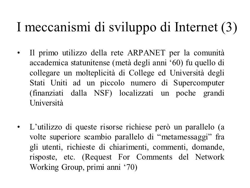 I meccanismi di sviluppo di Internet (3) Il primo utilizzo della rete ARPANET per la comunità accademica statunitense (metà degli anni 60) fu quello d