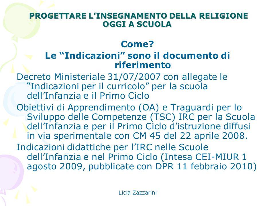 Licia Zazzarini PROGETTARE LINSEGNAMENTO DELLA RELIGIONE OGGI A SCUOLA PROGETTARE LINSEGNAMENTO DELLA RELIGIONE OGGI A SCUOLA Come? Le Indicazioni son
