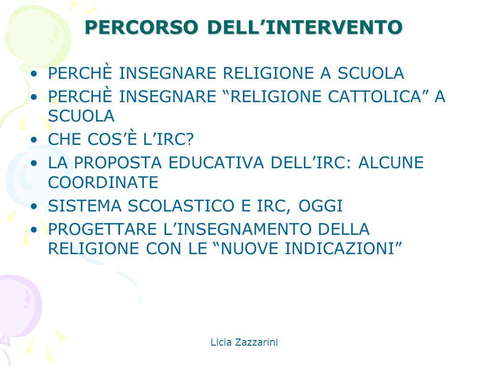 Licia Zazzarini PERCORSO DELLINTERVENTO PERCHÈ INSEGNARE RELIGIONE A SCUOLA PERCHÈ INSEGNARE RELIGIONE CATTOLICA A SCUOLA CHE COSÈ LIRC? LA PROPOSTA E