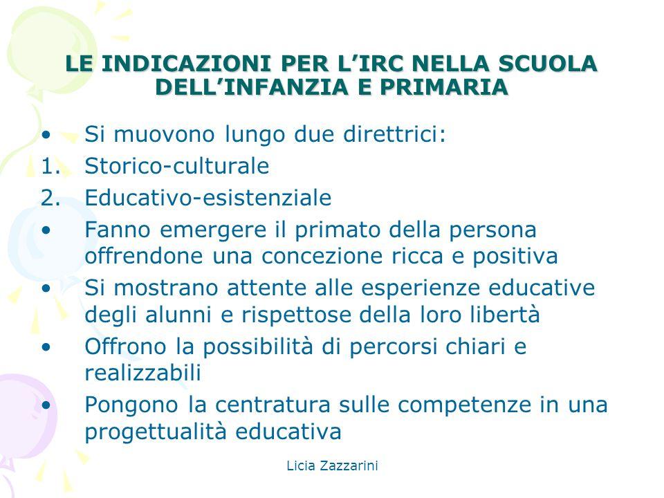 Licia Zazzarini LE INDICAZIONI PER LIRC NELLA SCUOLA DELLINFANZIA E PRIMARIA Si muovono lungo due direttrici: 1.Storico-culturale 2.Educativo-esistenz