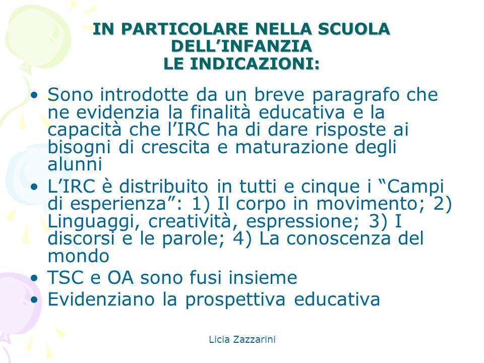 Licia Zazzarini IN PARTICOLARE NELLA SCUOLA DELLINFANZIA LE INDICAZIONI: Sono introdotte da un breve paragrafo che ne evidenzia la finalità educativa