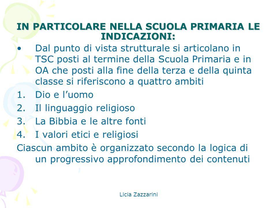 Licia Zazzarini IN PARTICOLARE NELLA SCUOLA PRIMARIA LE INDICAZIONI: Dal punto di vista strutturale si articolano in TSC posti al termine della Scuola