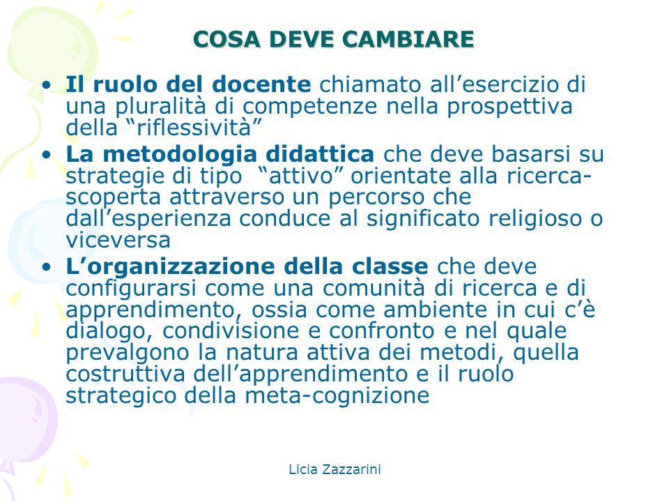 Licia Zazzarini COSA DEVE CAMBIARE Il ruolo del docente chiamato allesercizio di una pluralità di competenze nella prospettiva della riflessività La m