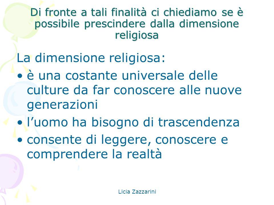Licia Zazzarini La dimensione religiosa è intrinseca al fatto culturale, concorre alla formazione globale della persona e permette di trasformare la CONOSCENZA IN SAPIENZA DI VITA (Santo Padre Benedetto XVI – 25 aprile 2009)
