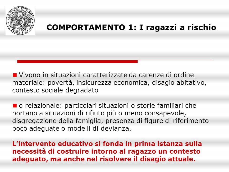 COMPORTAMENTO 1: I ragazzi a rischio Vivono in situazioni caratterizzate da carenze di ordine materiale: povertà, insicurezza economica, disagio abita