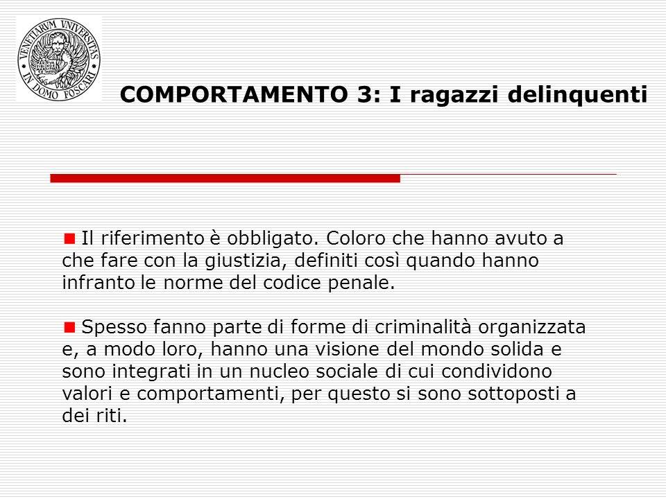 COMPORTAMENTO 3: I ragazzi delinquenti Il riferimento è obbligato. Coloro che hanno avuto a che fare con la giustizia, definiti così quando hanno infr