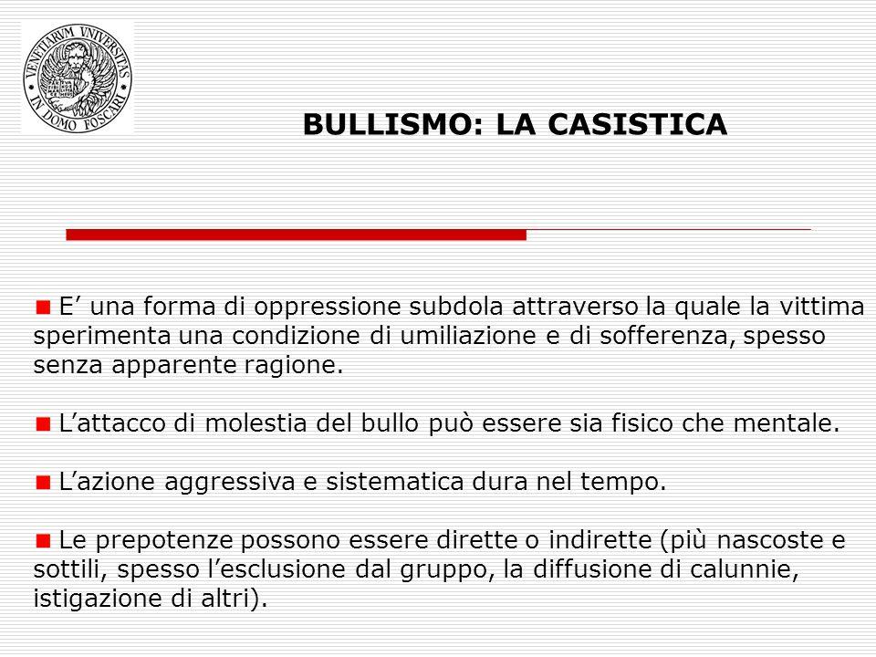 BULLISMO: LA CASISTICA E una forma di oppressione subdola attraverso la quale la vittima sperimenta una condizione di umiliazione e di sofferenza, spe