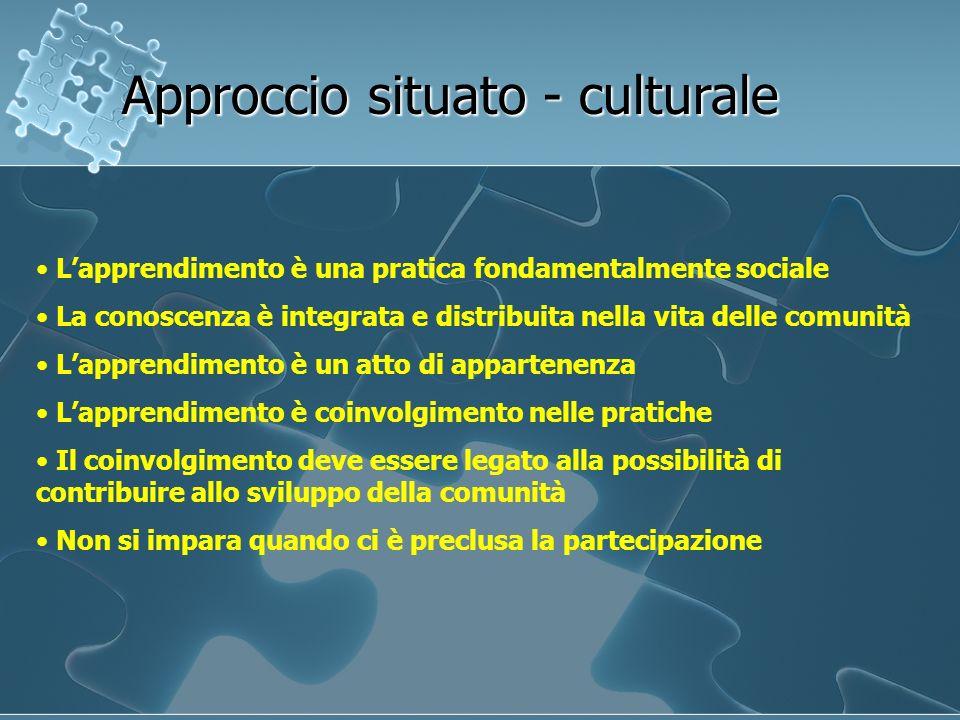 Lapprendimento è una pratica fondamentalmente sociale La conoscenza è integrata e distribuita nella vita delle comunità Lapprendimento è un atto di ap
