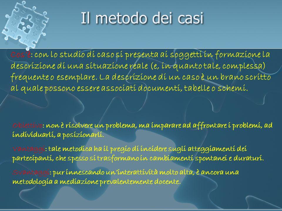 Il metodo dei casi Cosè: con lo studio di caso si presenta ai soggetti in formazione la descrizione di una situazione reale (e, in quanto tale, comple