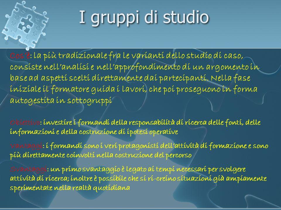 I gruppi di studio Cosè: la più tradizionale fra le varianti dello studio di caso, consiste nellanalisi e nellapprofondimento di un argomento in base
