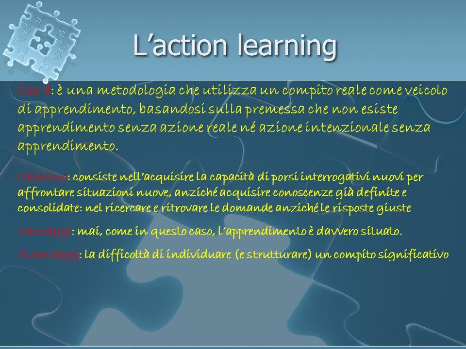 Laction learning Cosè: è una metodologia che utilizza un compito reale come veicolo di apprendimento, basandosi sulla premessa che non esiste apprendi